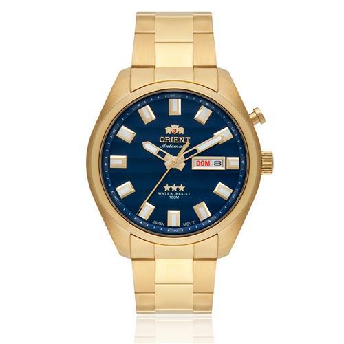 Relógio Masculino Orient Automatic 469GP076 D1KX Dourado fundo azul