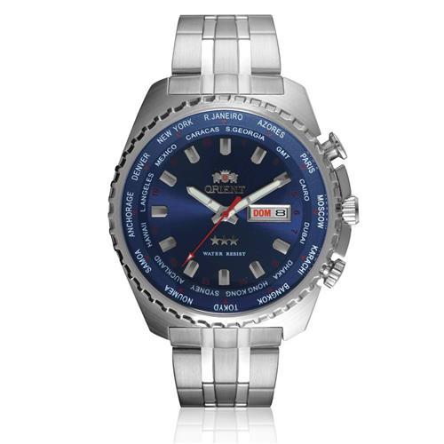 Relógio Masculino Orient Automatic GMT 469SS057 D1SX Fundo Azul