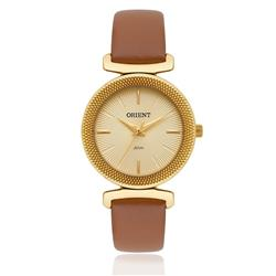 Relógio Feminino Orient Analógico FGSC1003 C1MX Dourado couro marrom