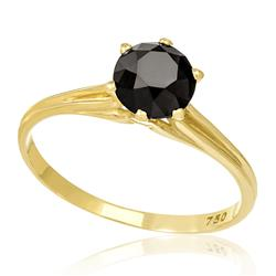 Anel Solitário com Diamante Negro de 1,40 Cts, em Ouro Amarelo