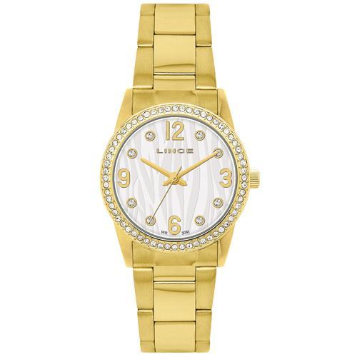 Relógio Feminino Lince Analógico LRG4052L S2KX Dourado com cristais