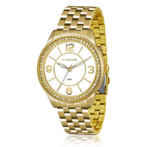 Relógio Feminino Lince Analógico LRG4340L KT04B2KX Dourado com cristais