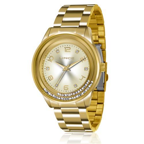 Relógio Feminino Lince Analógico LRG4360L C2KX Dourado com cristais