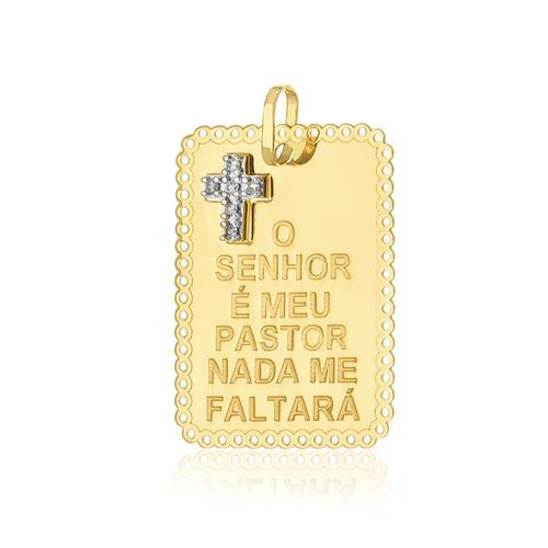 Pingente Chapinha com Cruz e 6 Diamantes, em Ouro Amarelo