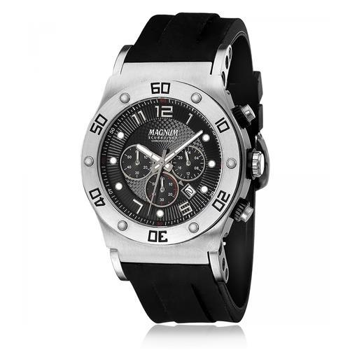 Relógio Masculino Magnum ScubaDiver MA30936T Borracha Preta