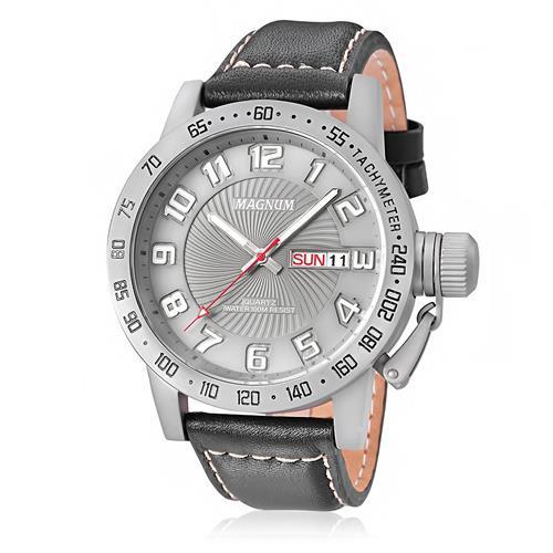 Relógio Masculino Magnum MA33139W Couro Preto