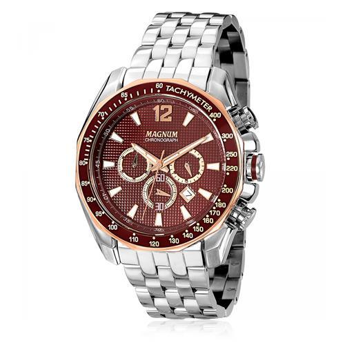 Relógio Masculino Magnum Chronograph MA33586R Catraca Marrom