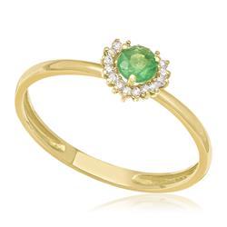 Anel com Diamantes totalizando 10 pts. e Esmeralda de 15 pts., em Ouro Amarelo