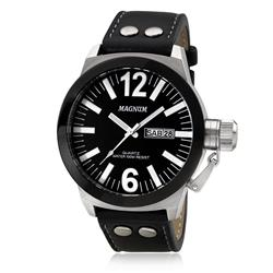 Relógio Masculino Magnum MA31533T Couro Preto
