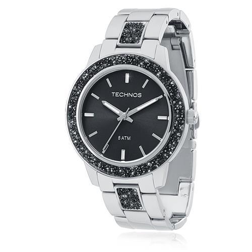 Relógio Feminino Technos Crystal Analógico 2035MFE/1P Fundo Preto