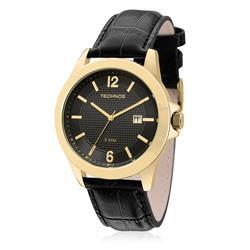 Relógio Masculino Technos Classic Steel 2115KNO/2P Couro Preto