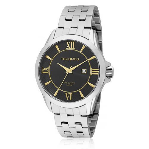 Relógio Masculino Technos Classic Steel 2115KOQ/1P Fundo Preto