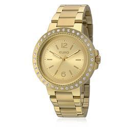 Relógio Feminino Euro Textura Analógico EU2035YDY/4D Dourado com cristais