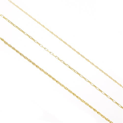 Kit com 3 correntes em ouro amarelo, corda, cartier e singapura