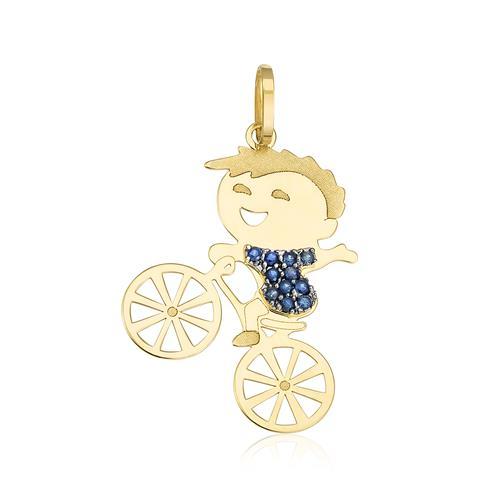 pingente de menino na Bicicleta com safiras, ouro amarelo