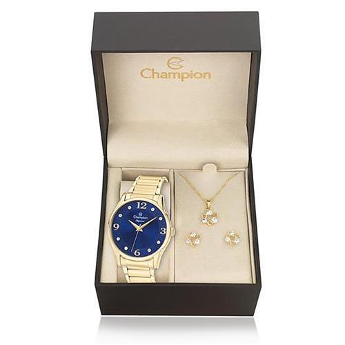 Relógio Feminino Champion Elegance CN26215K Kit Colar e Par de Brincos