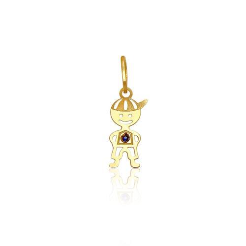 Pingente menino com 1 Safira, ouro amarelo