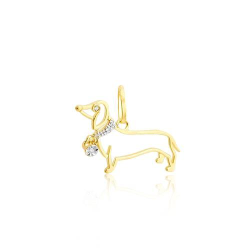 Pingente cachorro com 4 Diamantes, ouro amarelo