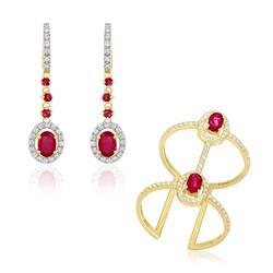 Conjunto anel e Par de brincos de Diamantes com rubis em ouro amarelo