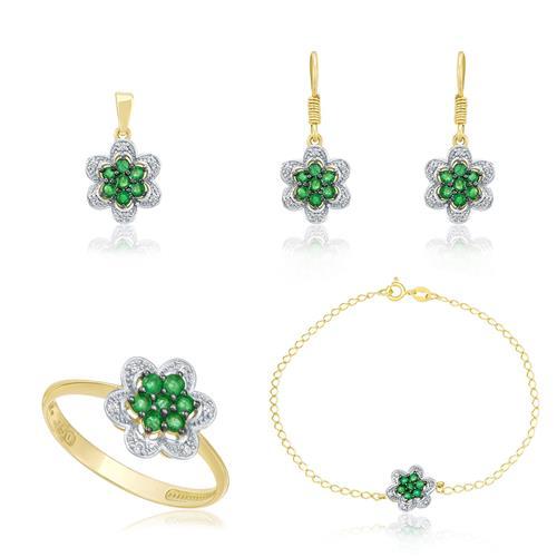 Conjunto floral de esmeraldas com Diamantes em ouro amarelo