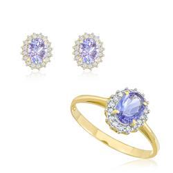 Conjunto anel e par de brincos de Tanzanitas com diamantes, em ouro amarelo