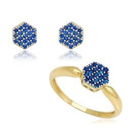 Conjunto par de brincos e anel com Safiras em ouro amarelo