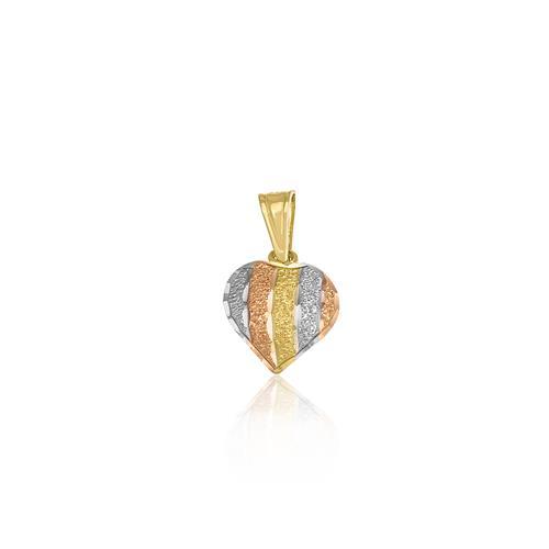 Pingente coração com efeito diamantado, ouro três cores