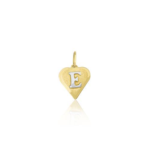 Pingente coração com letra E no centro, ouro amarelo