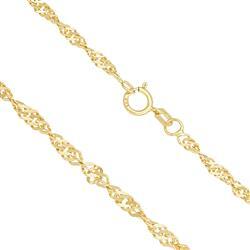 Corrente Feminina Elos Torcidos, 4,8 gramas em Ouro Amarelo