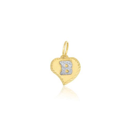 Pingente coração com letra B no centro, ouro amarelo