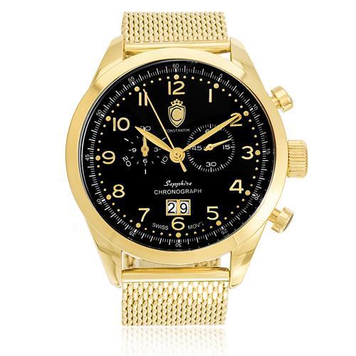 Relógio Constantim Chronograph Sapphire Gold Black ZW20029U Pulseira Esteira