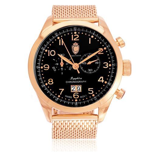 Relógio Constantim Chronograph Sapphire Rose Black ZW20029P Pulseira Esteira