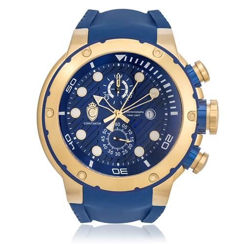 Relógio Constantim Chronograph Gold Blue ZW30232A Borracha