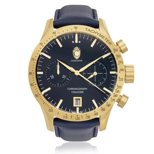 Relógio Constantim Diplomat First Class Sport Gold Blue ZW30223A Couro
