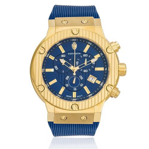 Relógio Constantim Pointers Precision Gold Blue ZW30189A Borracha