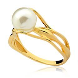 Anel estilizado com Pérola branca de 8 mm em ouro amarelo