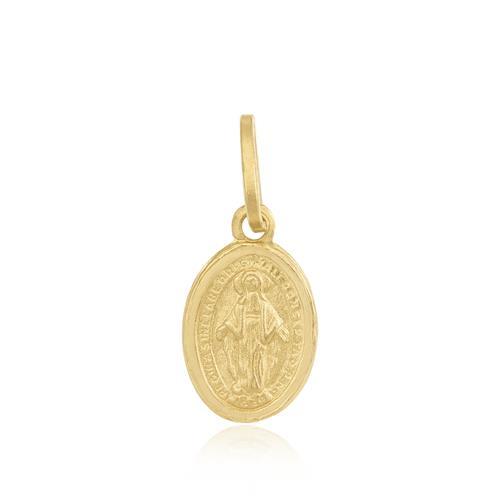 Pingente Oval Ave Maria  em ouro amarelo