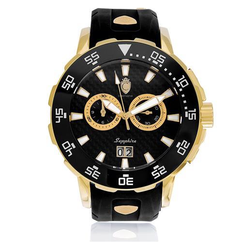 Relógio Constantim Marine Scub Diver Gold Black ZW30250U Borracha