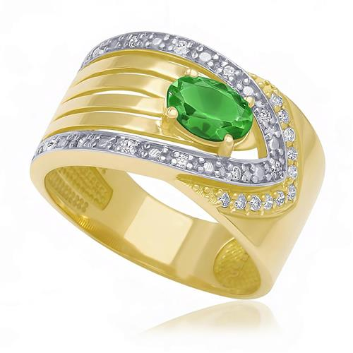 Anel com 22 Diamantes e Esmeralda Central de 60 Pts., em Ouro Amarelo