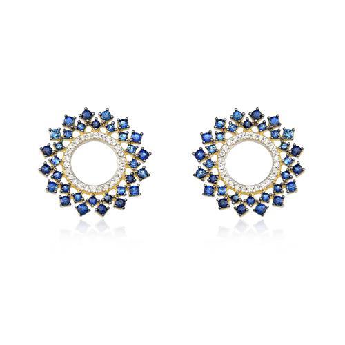 Par de Brincos redondo com Safiras e Diamantes em ouro amarelo
