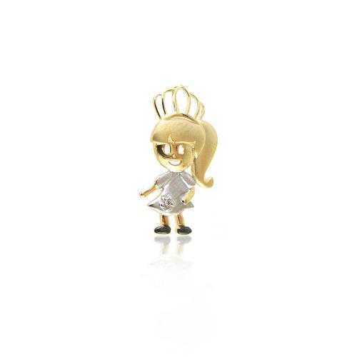 Pingente Princesinha com Diamante, em Ouro Amarelo