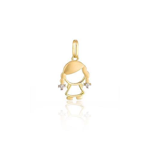 Pingente Menininha com 2 Diamantes, em Ouro Amarelo