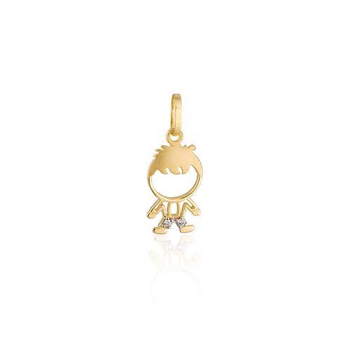 Pingente Menininho com 2 Diamantes, em Ouro Amarelo