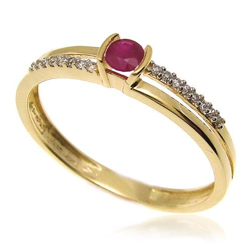 Anel Aro Bifurcado com Rubi e Diamantes, em Ouro Amarelo
