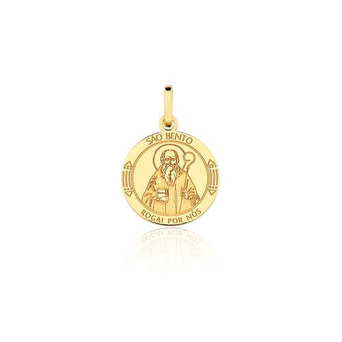 Pingente São Bento, em Ouro Amarelo