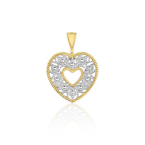 Pingente Coração com Efeito Diamantado, em Ouro Amarelo