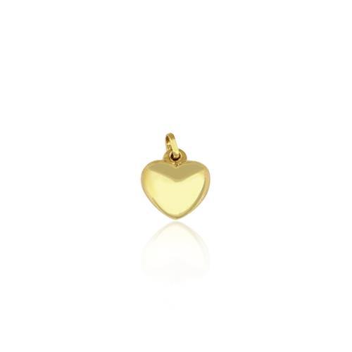 Pingente Coração Polido, em Ouro Amarelo