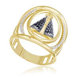 Anel Nossa Senhora Aparecida com 32 Safiras e 28 Diamantes, em Ouro Amarelo