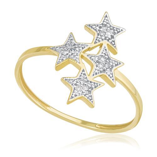 Anel Estrelas com 12 Diamantes, em Ouro Amarelo