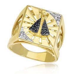 Anel Nossa Senhora Aparecida com 24 Safiras e 12 Diamantes, em Ouro Amarelo